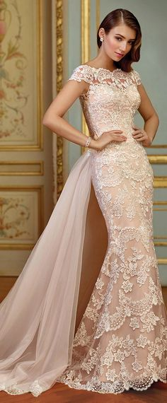Stunning Tulle & Satin Bateau Neckline 2 In 1 Wedding Dresses With Lace Appliques https://bellanblue.com