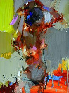 Iryna Yermolova (Ukrainian, b. 1978, Ukraine, resides Dorchester, Dorset, UK) - Naughty Hair I, 2015 Paintings: Oil on Canvas