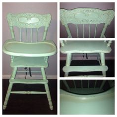 Chalk painted vintage high chair. Mint green and gold!!!