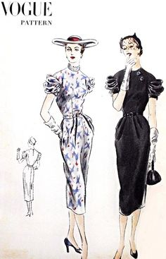 1950s Dramatic Sleeves Dress Pattern VOGUE 7253 Day or Cocktail Dinner Slim Dress Beautiful Draped Sleeves  Bust 32 Vintage Sewing Pattern FACTORY FOLDED