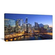 DesignArt Chicago River with Bridges at Sunset Cityscape Photographic Print on Wrapped Canvas Size: