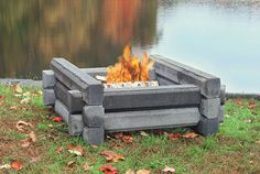 Outdoor fire pit - pre-cast fireproof cement logs