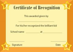 Certificate of Recognition Templates: Best Ideas and Free Samples - Demplates Certificate Of Recognition Template, Certificate Templates, Certificate Of Appreciation, Free Samples, Are You The One, Preschool, Good Things, Ideas, Fashion