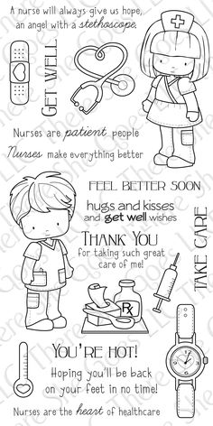 I WANT THESE NURSE STAMPS! Somebody please buy them for me! ;-)