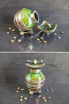 raku urn green copper Urn cremation urn keepsake urn for
