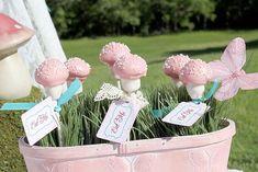 Shabby Chic Alice in Wonderland treats eat me labels mushroom cake pops