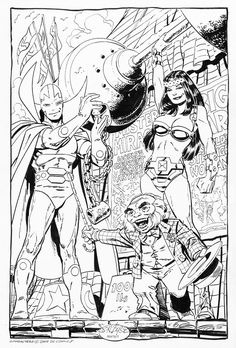 John Byrne Draws..., Mister Miracle & Big Barda & Oberon commission by...