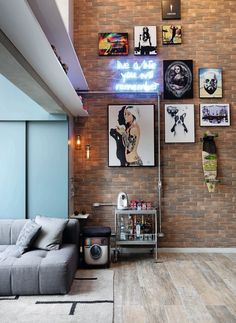 Gorgeous Brick Loft Apartments Ideas for Amazing Apartment Interior Manly Living Room, Living Room Decor, Living Rooms, Loft Design, House Design, Decor Interior Design, Interior Decorating, Brick Loft, Cool Apartments