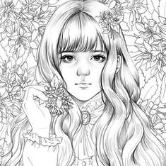 Girls with Poem by m.o girl - Girls Coloring book by momo girl Korean Coloring Book Adult Coloring Pages, Coloring Pages To Print, Colouring Pages, Coloring Sheets, Coloring Books, Coloring Tutorial, Colorful Drawings, Beautiful Artwork, Illustration