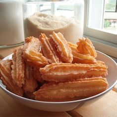 "Churros II | ""These churros are melt in your mouth, unlike the typical heavy and dense churros served in restaurants. Other recipes refer to these as ""Angel Churros""."""