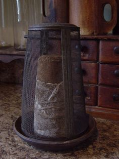 Early Antique Tall Shoo Fly Screen with Large Dark Sugar Cone - I'm sure its gone but now I know why we have a modern-day version! Primitive Kitchen, Primitive Antiques, Old Kitchen, Primitive Crafts, Country Primitive, Kitchen Decor, Prim Decor, Country Decor, Rustic Decor