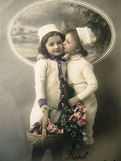 Antique new year postcard  Little girl child by LizKnijnenburg