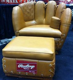 This chair at MLB Fan Fest in KC is perfect for any man cave. The little throw pillow should be a baseball Baseball Chair, Baseball Mom, Baseball Stuff, Baseball Furniture, Softball Stuff, Baseball Headboard, Baseball Gloves, Baseball Crafts, Softball Mom