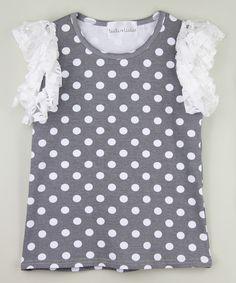 Gray & White Polka Dot Angel-Sleeve Top - Toddler & Girls | zulily