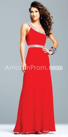 Celebrity A-Line Floor-Length One-Shoulder Evening Dresses