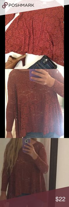 Spotted while shopping on Poshmark: Rust Floral Sheer Lace Longer Side Hem Top! #poshmark #fashion #shopping #style #Audrey 3+1 #Tops