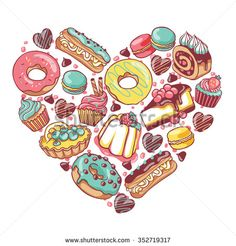 Love pastry sweets vector desserts heart with donut, cupcake, chocolate, macaroon, eclair, pie, cheesecake, muffin, candies, jelly, cookies