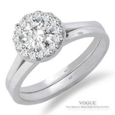 Stunning 14K Halo White Gold Engagement Ring