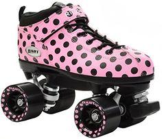 Speed Roller Skates - New Riedell Pink Polka Dot Dart Quad Roller Derby Speed Skates *** Click image for more details.