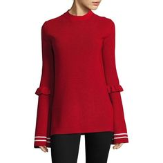 Mother of Pearl Women's Rubi Bell Sleeve Sweater - Red White ($680) ❤ liked on Polyvore featuring tops, sweaters, apparel & accessories, red white, striped sweater, long pullover sweaters, long red sweater, white sweaters and ribbed sweater