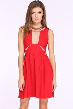 Red Sleeveless Cut Out Flare Dress 18.33