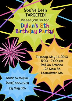 Laser Tag Birthday Party Invitations  $1.00 each http://www.festivityfavors.com/item_699/Laser-Tag-Birthday-Party-Invitations.htm
