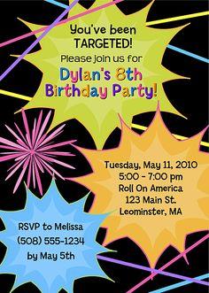 Laser Tag Birthday Invitation Boy Birthday Invitations