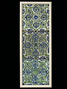 from Salimiye madrasa in Damascus dating from 1566. Potters came to Damascus to work on the tilework. The designs were inspired by Iznik patterns,  instead the Syrian patterns are more spontaneous and exuberant. The colour palatte was also distinctive, relying on more softer colours than those favoured by Iznik potters in the 1540s, and without the use of a red. The designs have parallels in textile patterns which also have repeats. V 506toB1900 Damascus Syria