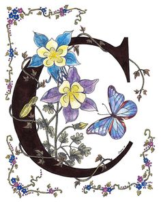 Columbines And A Cramer's Blue Morpho Butterfly Painting by Stanza Widen