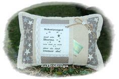 Kissen - Schutzengel - Kissen Sterne Shabby - Landhausstil - ein Designerstück von antjesdesign bei DaWanda