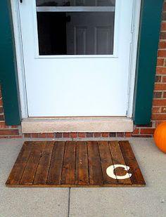 Pallet door mat - marked with an A