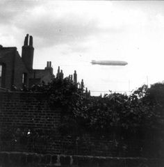 Zeppelin sighting over Belgrave Street, Stepney, during World War One  Image courtesy of Tower Hamlets Local History Library and Archives.