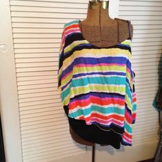 Striped Top Butterfly style top. One sleeve & the other side is spaghetti strap. Colorful stripes and so cute! Cato Woman Tops