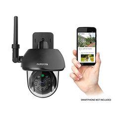 Motorola FOCUS73-B Wi-Fi HD Outdoor Home Monitoring Camera with Remote Pan, Tilt & Zoom (Black)