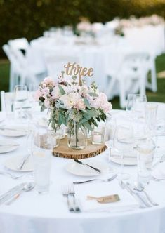Bring your garden wedding theme together with a blush floral centerpiece and gold calligraphy table numbers. | Weddings by Kayln in Nashville, TN