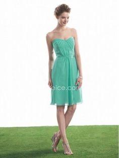 A-line Sweetheart Knee Length / Short Chiffon Bridesmaid Wedding Party Dresses