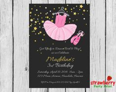 Ballerina Birthday Invitation, Ballerina Invitation, Ballerina Party Invitation…