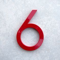 Modern House Number Aluminum Modern Font Number SIX 6 in RED via Etsy
