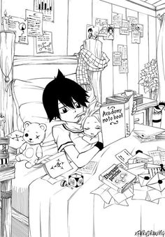 If you look on the wall you can see a picture of Natsu and Zeref holding hands. Imagine a little baby Natsu giving this to his big brother... :3
