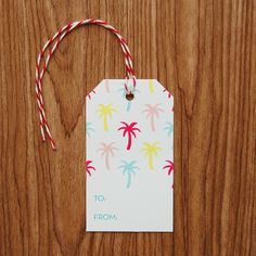 Palm Tree Patterned Gift Tags - Set of 10