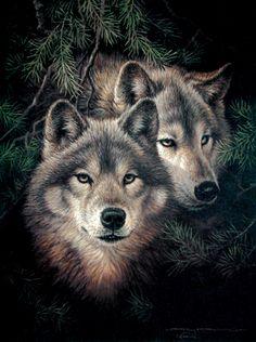 Portfolio: Timber Mates animal - wolf - painting