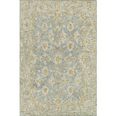Hand-hooked Traditional Light Blue/ Rust Mosaic Wool Rug (3'6 x 5'6) - Free Shipping Today - Overstock - 26377701