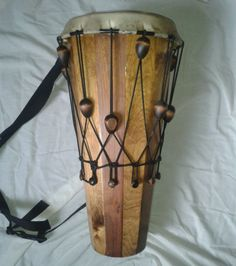 """WEST AFRICAN TUNABLE WOODEN NGOMA DRUM 9"""" GOATSKIN HEAD"""