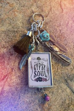 """Gypsy Soul Pendant Necklace or Boho Keychain. """"Blame My Gypsy Soul"""" Keyring available with Tassel & Charms. - Gypsy Soul Pendant Necklace or Boho Keychain. by BohoCircus - Bohemian Accessories, Car Accessories, Jewelry Crafts, Handmade Jewelry, Etsy Handmade, Hippie Car, Hippie Boho, Jewelry Drawing, Boho Bags"""