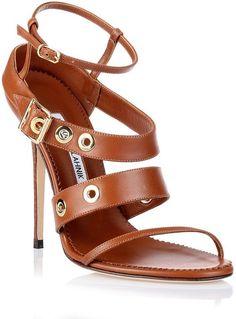 Manolo Blahnik Zilax tan leather sandal