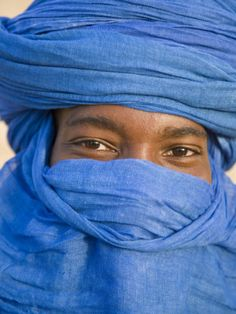 Timbuktu, the Eyes of a Tuareg Man in His Blue Turban at Timbuktu, Mali Photographic Print by Nigel Pavitt at AllPosters.com