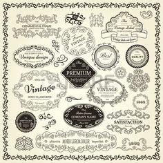 Setzen Sie Design-Elemente von Etiketten, Grenzen, Rahmen, etc Könnte für Seite Dekoration, Zertifikat, etc. verwendet werden Stockfoto