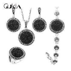 Gukin zwart gebroken steen bruiloft sieraden sets voor vrouwen hanger statement ketting oorbellen ringen fijne engagement sieraden set