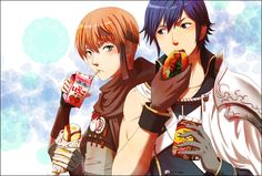 FE: A, Gaius and Chrom having a snack XD