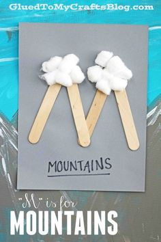 """""""M"""" is for Mountains - Popsicle Stick Themed Kid Craft - Winter Kid Activity popsicle stick alphabet craft Preschool Letter Crafts, Alphabet Letter Crafts, Abc Crafts, Daycare Crafts, Craft Stick Crafts, Toddler Crafts, Preschool Crafts, Craft Ideas, Craft Sticks"""